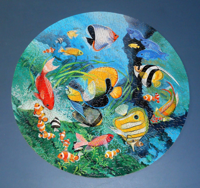 Springbok Undersea Enchantment 500 Piece Jigsaw Puzzle PZL6525 Circular Round Fish 1983 Complete