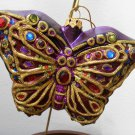 Purple Glitter Butterfly Glass Ornament Lord & Taylor 940221 NIB with Tag