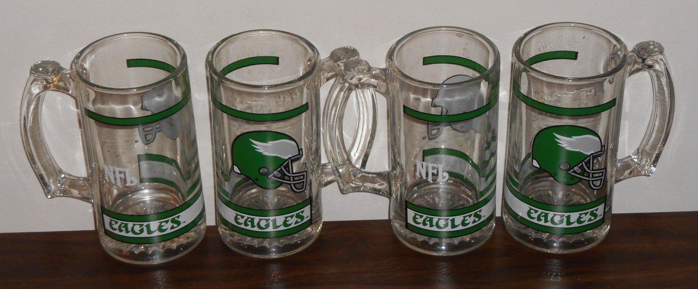 Philadelphia Eagles 5½ Inch Clear Glass Handled Beer Mug Set of Four NFL Football