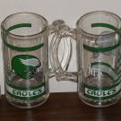 Philadelphia Eagles 5½ Inch Clear Glass Handled Beer Mug Set of Four NFL Football