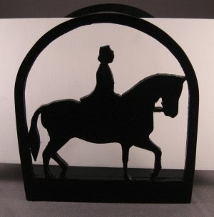 Lady Riding Horse Napkin Holder or Letter Holder