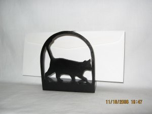 Cat Kitten Walking Wood Napkin Holder or Lettter Holder