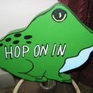 Hop On In Frog Wood Garden Sign