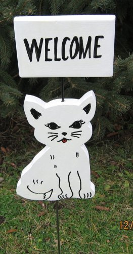 Cat Kitten Welcome Garden Sign