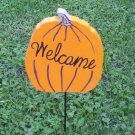 Welcome Pumpkin wood yard art