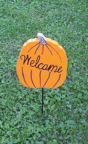 Welcome Pumpkin wood yard art
