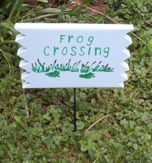 Frog Crossing Wood Garden Sign