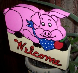 Pink Pig Welcome Sign