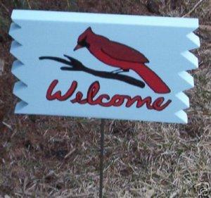 Cardinal Welcome Garden Sign