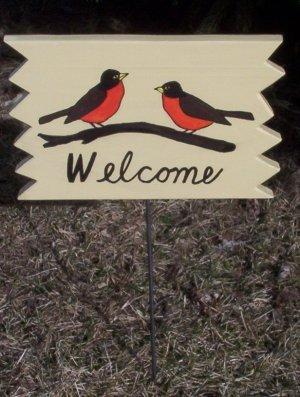 Robin birds  Welcome garden sign