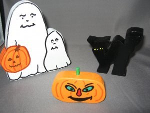 Ghosts Pumpkin and black Cat Halloween Decoration