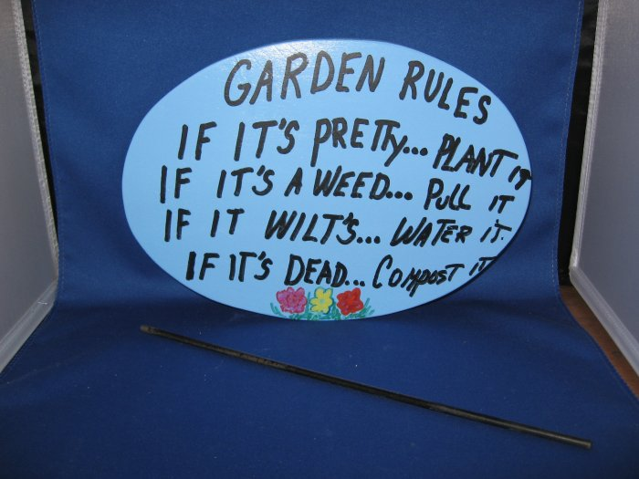 Garden Rules Wood Garden Sign