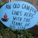 An Old Camper Lives Here Wood Garden Decor Sign