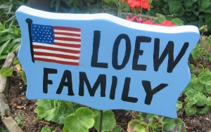 Personalized Patriotic Flag Family Name wood garden sign