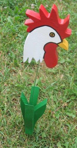 Rooster chicken garden flower wood