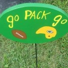 Go Pack Go Wood Garden Decor Sign Green Bay Packers
