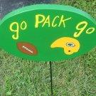 Go Pack Go Wood Garden Decor Sign Green Bay Packers