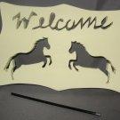 Welcome Horses horse wood garden sign