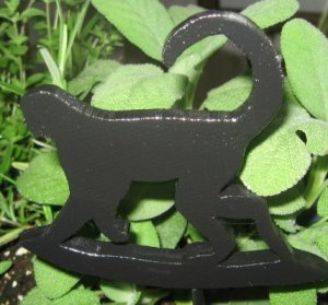 Monkey Wood Plant Poke Silhouette black