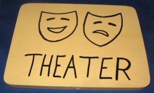Theater door  Sign pine wood handpainted