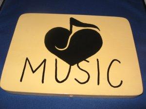 Music door  Sign pine wood handpainted
