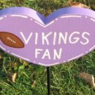 Minnesota Vikings Fan Heart shaped Wood Garden Sign