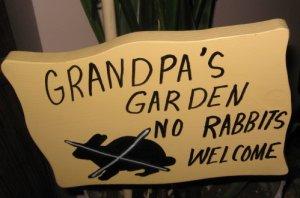 Grandpa's Garden No Rabbits Welcome wood garden sign