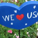 We love USA Heart shaped Wood Garden Sign