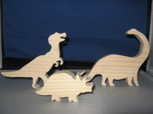 Wood dinosaurs to paint set of 3