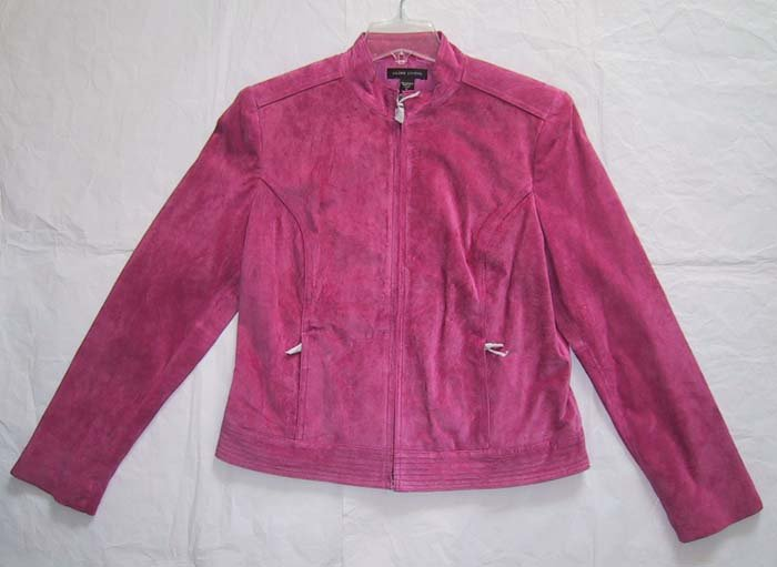 *SALE* Valerie Stevens Sportswear Separates Pink Leather Suede Jacket Motorcyle Style Size M