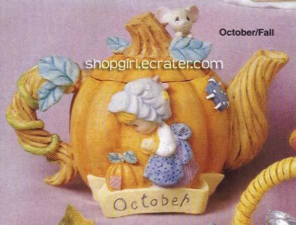Precious Moments by Enesco October/Fall Collectible Mini Teapot