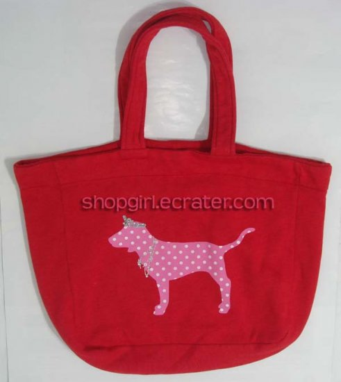 Victoria's Secret PINK Bling Dotted Dog Red Tote