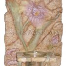 *SALE* Iris Floral Candleholder Ceramic Hanging Wall Plaque