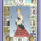 In MEMORIAM LADY DIANA stamps made in Hungary souviner sheet