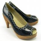 MANOUSH Peep Toe Patent Leather Heels Pumps Platform 41