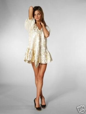 MANOUSH Bow Front Silk Gold Tunic Tier Mini Dress Lame