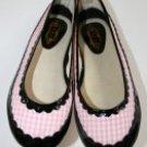 MANOUSH Pink Black Plaid Gingham Patent Leather Ballerina Flat 40