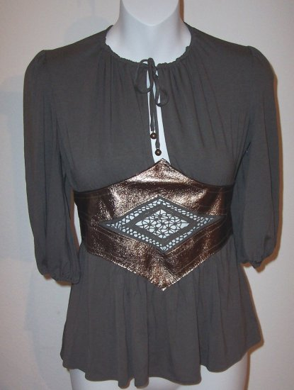 INGWA MELERO Grey Phoenix Jersey Leather 3/4 Sleeve Top L