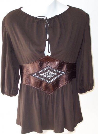 INGWA MELERO Mahag Phoenix Jersey Leather 3/4 Sleeve Top M