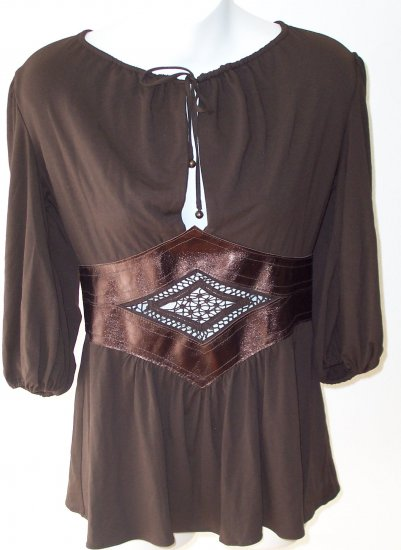 Ingwa Melero Mahag Phoenix Jersey Leather 3/4 Slv Top L