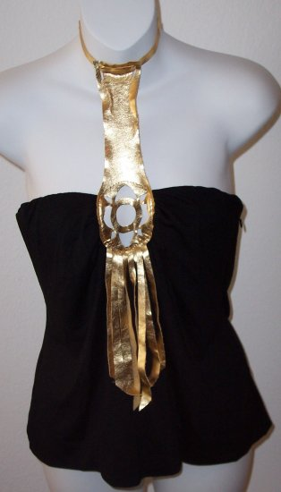 Ingwa Melero Black Gold Leather Solar T Jersey Top XS