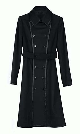$495 Sophia Kokosalaki Black Wool Cashmere Trench Coat L