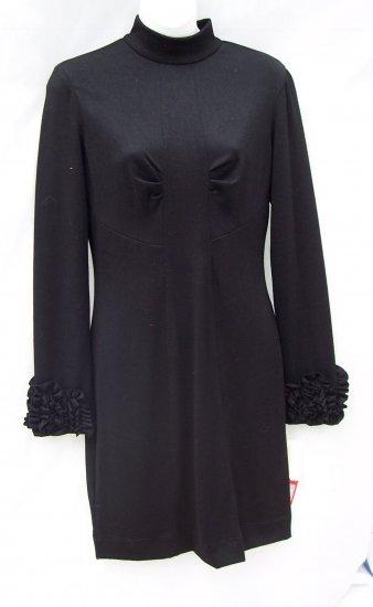 WOODLEY PARK LBD Black Ruffle Sleeve Retro Dress M $400