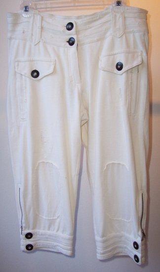 PINKO SUNDAY MORNING Cream Crop Pant Short M Gwen Style
