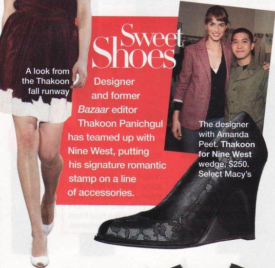 $250 THAKOON Black Patent Lace Peep Toe Wedge Heel Nine West 7.5