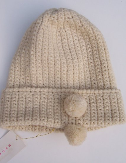 MANOUSH Ecru Knit Crochet Wool Pom Pom Bonnet Hat Cap
