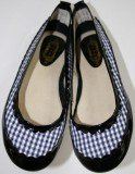 MANOUSH Navy Black Plaid Gingham Patent Leather Ballerina Flat 38 US 7.5