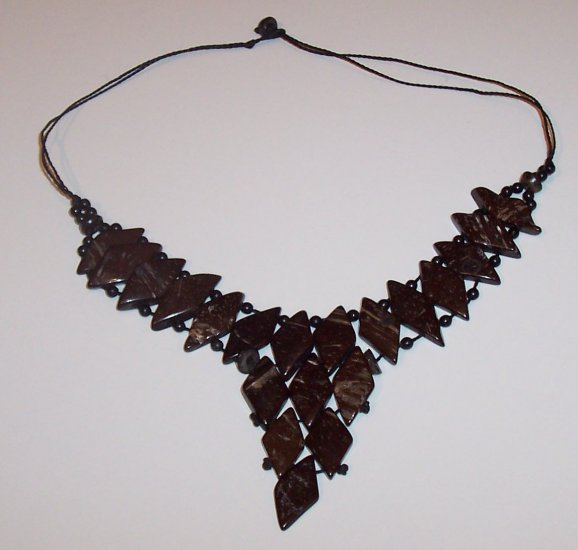 Brazilian Wood Bead Diamond Shaped Choker Necklace Calypso