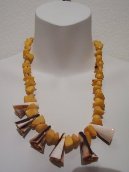 Brazilian Wood Bead Shell Boho Hand Crafted Necklace