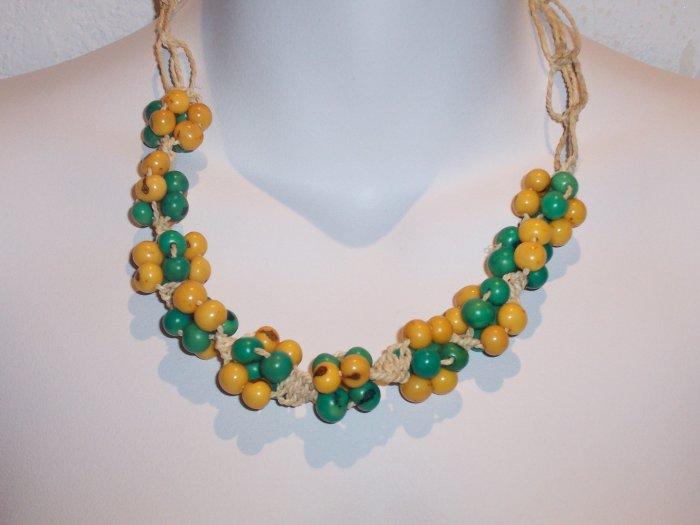 Brazilian Wood Bead Boho Hand Crafted Choker Necklace